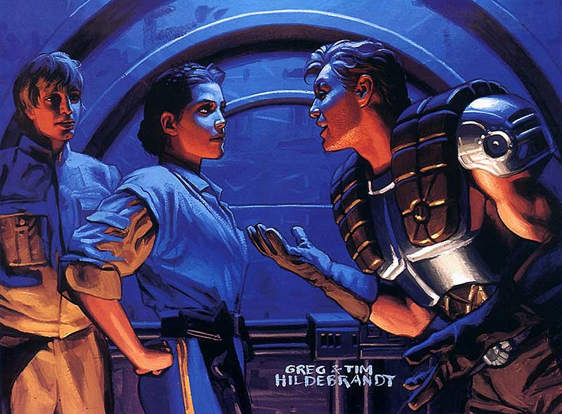 Greg & Tim Hildebrandt's painting of Dash Rendar eagerly speaking with Princess Leia while Luke creeps jealously in the background