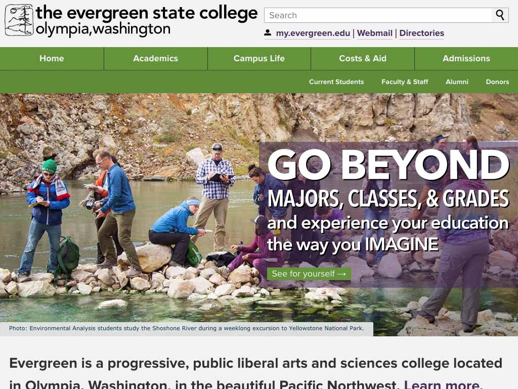 Screenshot of Evergreen's homepage that I designed.